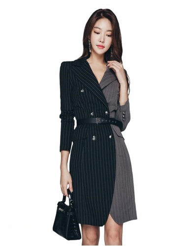 Crystal Korea Fashion black and grey The new temperament striped color matching slim suit jacket / dress F8A17AAED18CECGS_1