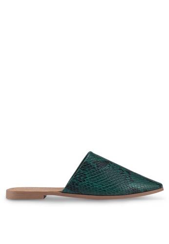 Rubi 綠色 蛇紋穆勒鞋 EE681SH1BF4742GS_1