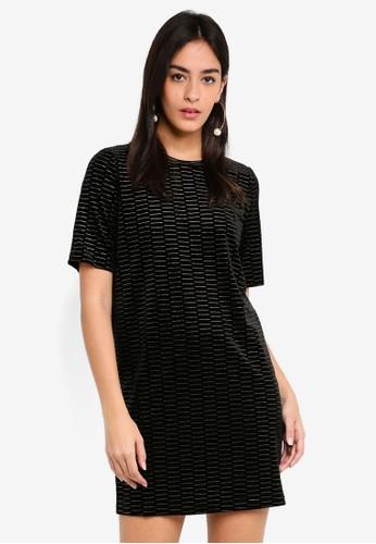 JACQUELINE DE YONG black Goldy Short Sleeve Dress A6860AA9759BA7GS_1
