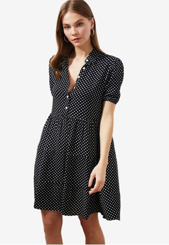 Trendyol black Polka Dot Shirt Dress 87B31AA22CCD29GS_1