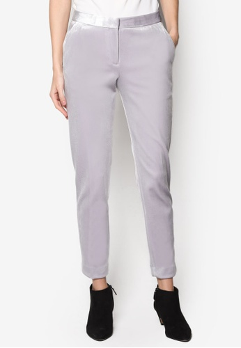 TOPSHOP grey Velvet Suit Trousers TO412AA46PMJMY_1