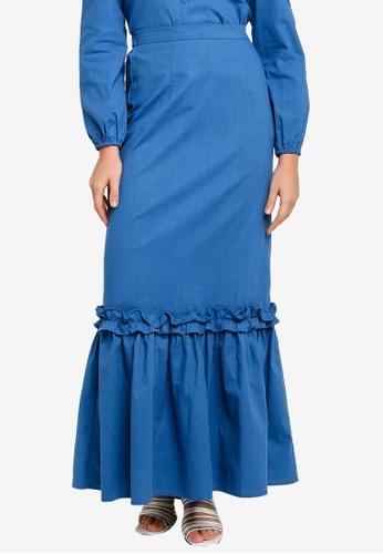 Lubna blue Ruffle tier skirt 28385AA407DD48GS_1