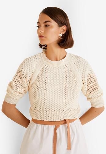 Mango beige Open-Knit Sweater FB995AA0CD00A5GS_1