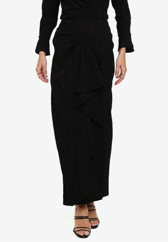 Zalia 黑色 Drape Flounce Skirt 488ABAA071B0F6GS_1