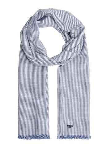 MANGO Man blue Stripe-Pattern Cotton Scarf DFF53AC6631979GS_1