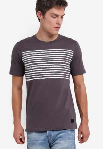 Flesh IMP grey Underlined Route Graphic T-Shirt FL064AA73SAOMY_1