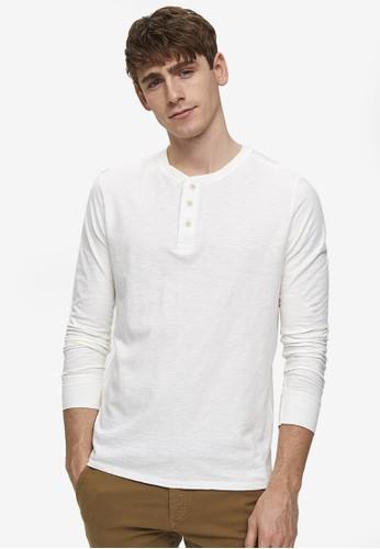Selected Homme white Ben Overdye Long Sleeve Split Neck Tee 0CD57AA80451A1GS_1