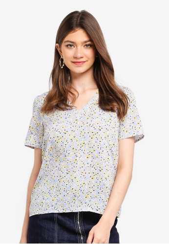 Pieces blue Kiva Short Sleeve Top 7D5F2AA8DD2300GS_1