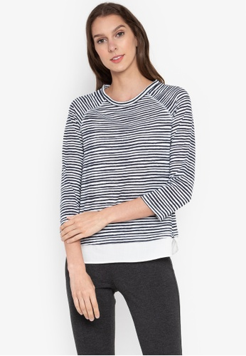 MARKS & SPENCER navy 3/4 Double Layer Top 29D26AA72D0E41GS_1