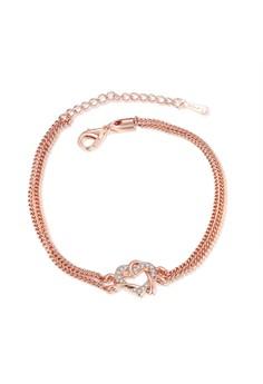 Treasure by B&D B012 Plated Heart Pendant Tassel Bracelet