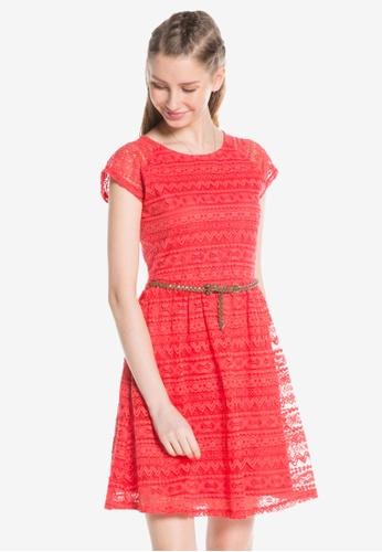 LC Waikiki orange Belt Lace Dress E0DC3AA3338A8DGS_1