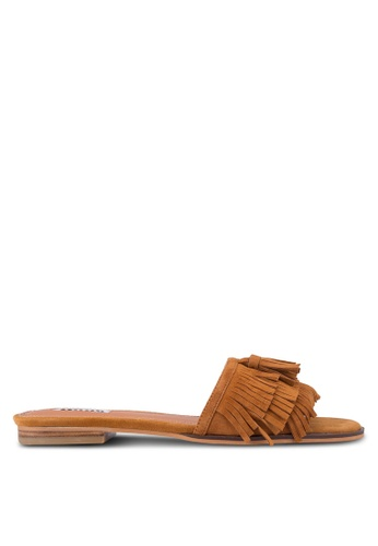 Dune London brown Lassi Fringe Detail Flat Mule Sandals DU588SH90UHLMY_1