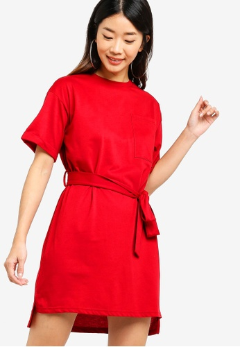 Something Borrowed red Tee Dress With Self Tie 7D80BAA4B25C77GS_1