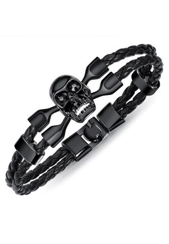 YOUNIQ black YOUNIQ Titanium Steel Black Braid Genuine Leather Bracelet for Men - Skull E8A91AC07B9EBAGS_1