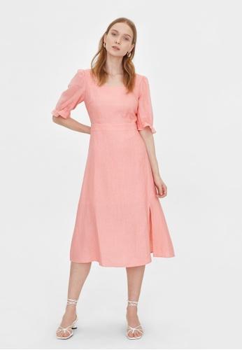 Pomelo pink Purpose Midi Side Slit Dress - Pink 4FD6BAA4B2BFB4GS_1