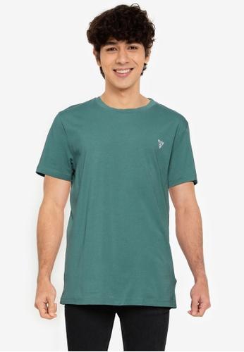 GUESS green Guess Triangle Logo Short Sleeve T-Shirt 4C056AA8092592GS_1