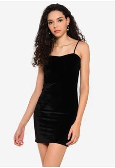 5fe3d251ed83 Boohoo black Petite Melissa Velvet Spaghetti Strap Bodycon Dress  978AAAA453205AGS_1