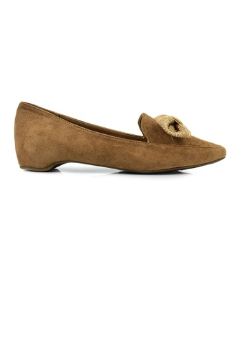 SHINE brown Suede Point Toe Pumps With Hidden Heels 043E1SH1EBAC99GS_1