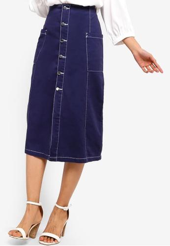 ZALORA navy Pocket Button Down Midi Skirt 34CF6AA827B218GS_1