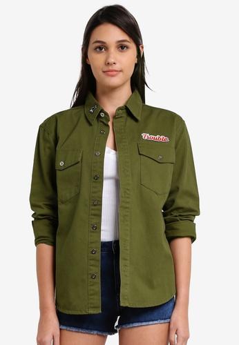 Something Borrowed green Patch Oversized Shirt 135A7ZZ2507C2CGS_1