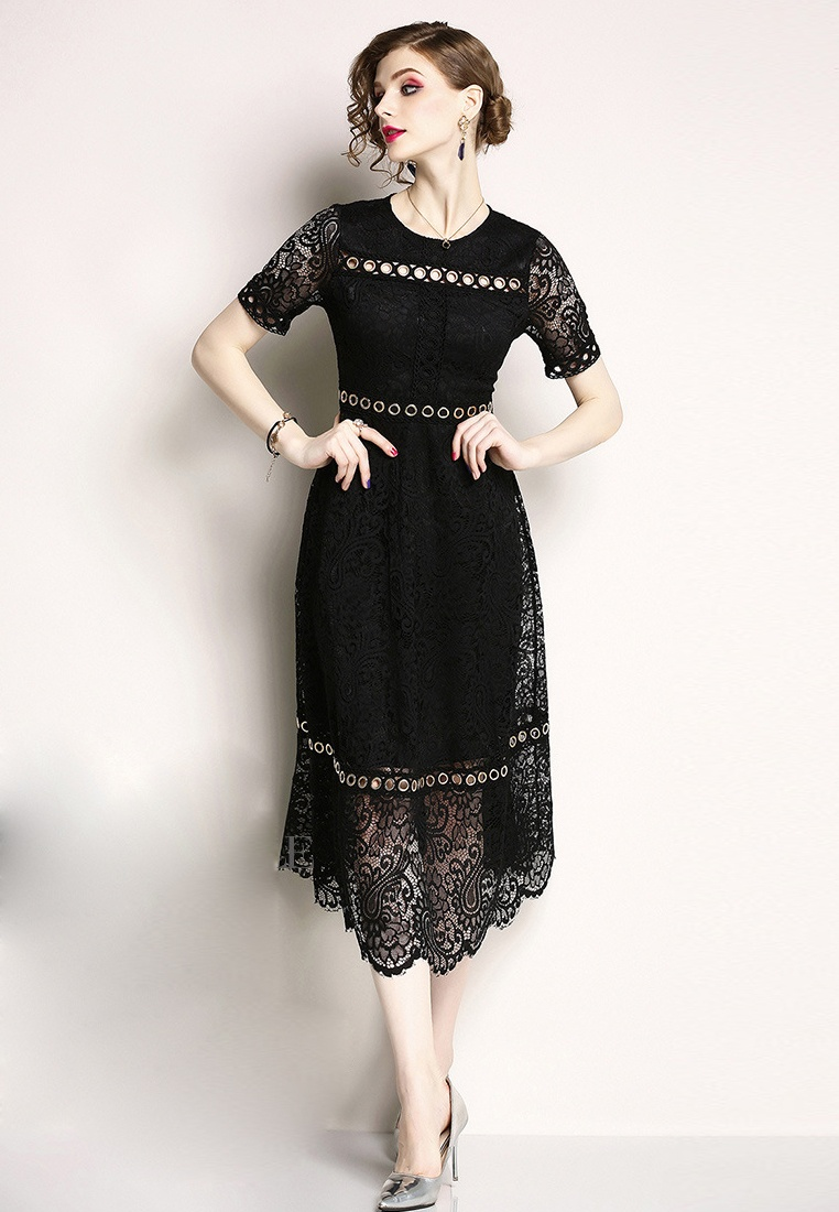 Black New 2018 Dress Sunnydaysweety One Piece Black A060815BK Lace BFw8HAwq