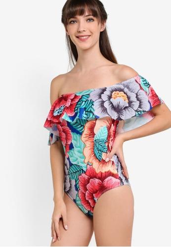 PINK N' PROPER multi Waldorf Bardot Off-Shoulder Swimsuit PI108US02DJPMY_1