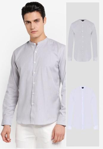 ZALORA black and blue 2 Pack Slim Fit Mandarin Collar Stripe Long Sleeve Shirt ZA819AA0T292MY_1