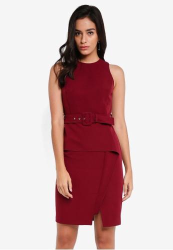 ZALORA red Belted Peplum Dress 9DE38AAA07B990GS_1