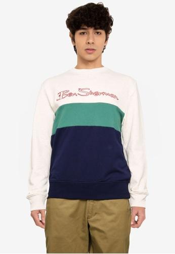 Ben Sherman white and multi Sports Logo Sweatshirt CCF00AA74FBF8DGS_1