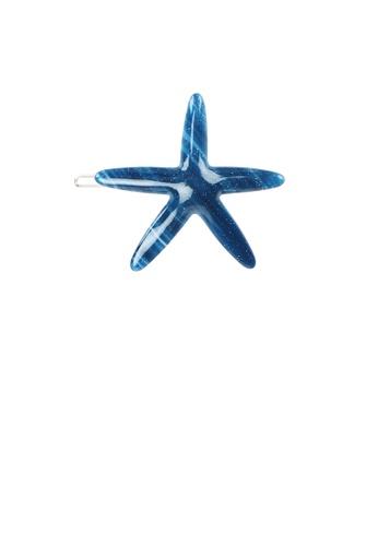 Glamorousky silver Simple and Fashion Blue Starfish Hair Clip DF47EACBF552FEGS_1