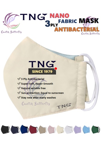 Cantik Butterfly yellow TNG 3 Ply Antibacterial Nano Fabric Mask Reusable (Cream) Set of 5 81C96ES41EDF4AGS_1