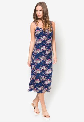 花zalora時尚購物網的koumi koumi色細肩帶過膝洋裝, 服飾, 洋裝
