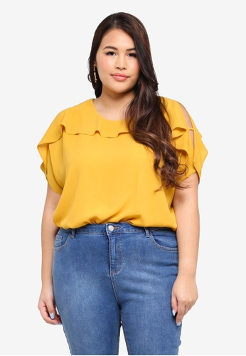 Dorothy Perkins yellow Plus Size Ochre Cold Shoulder Ruffle Top 05817AA69D58FFGS_1