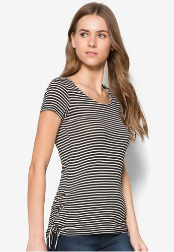 Stripe Tie zalora 手錶Side Tee, 服飾, 服飾