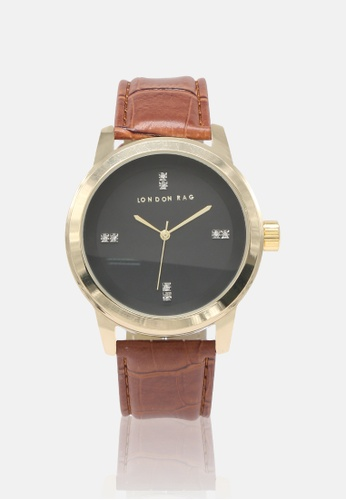 London Rag brown Unisex Brown Casual watch with CROC PU leather Strap EC720AC023EE50GS_1