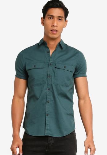 LC Waikiki 綠色 修身短袖襯衫 AFC05AAA594E33GS_1