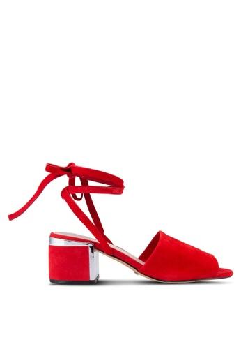 TOPSHOP 紅色 露趾繞踝粗跟鞋 TO412SH38JGZMY_1