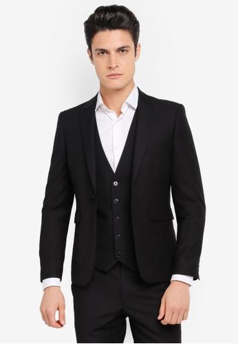 Burton Menswear London black Skinny Black Essential Suit Jacket BU964AA0SR8GMY_1