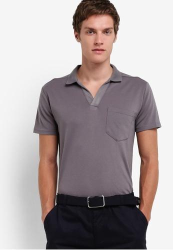 ZALORA 灰色 針織口袋短袖POLO衫 78C16AAE08790BGS_1