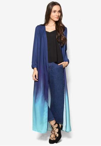 esprit服飾漸層色長半開襟外套, 服飾, 毛衣& 針織外套