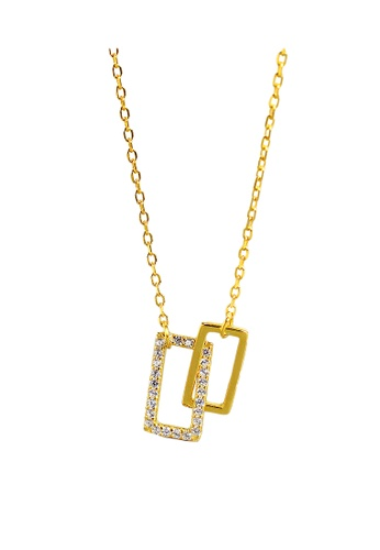 LYCKA gold LDR1269 S925 Silver Minimal Rectangle Necklace 3318CACE44EC64GS_1