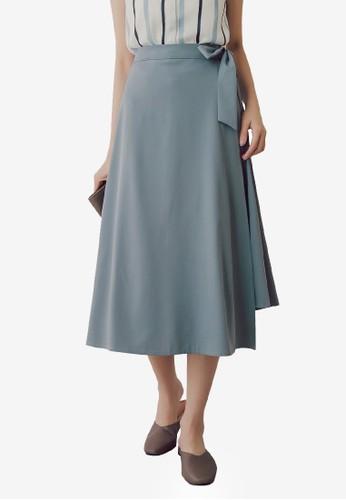 Yoco blue Tie Waist Midi Skirt 79F86AA2D52E8DGS_1