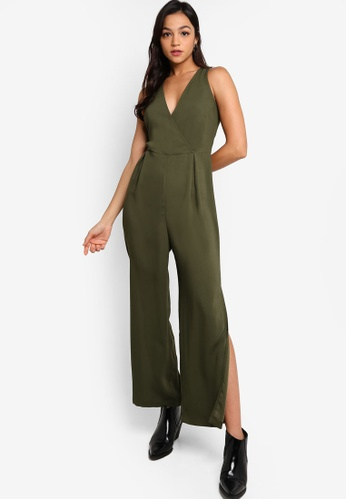 Something Borrowed green Surplice Jumpsuit With Slits D8923AADA659DAGS_1