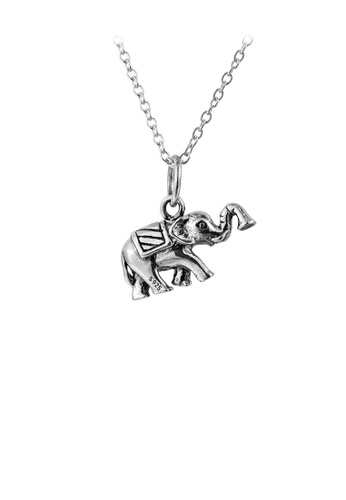 Glamorousky silver 925 Sterling Silver Fashion Vintage Elephant Pendant with Necklace 57D73AC80DA324GS_1
