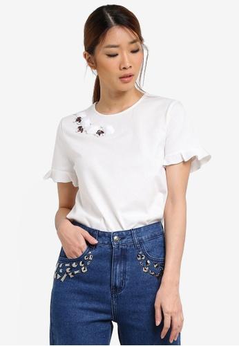Something Borrowed white Embellished Neckline Tee 7E07EAA815B646GS_1