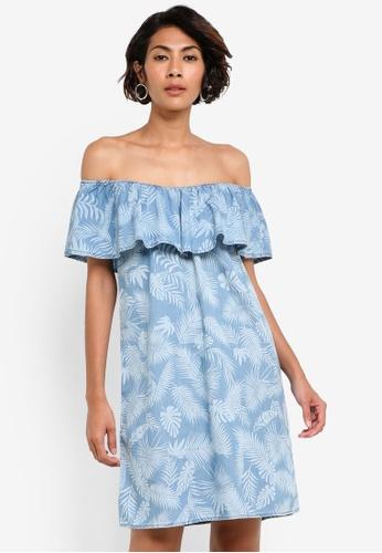 Dorothy Perkins blue Palm Tree Bardot Dress DO816AA32BATMY_1