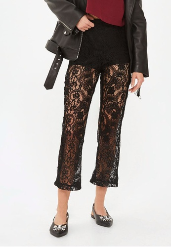 TOPSHOP 黑色 MOTO Kick Flare Lace Detail Jeans TO412AA0ROUHMY_1