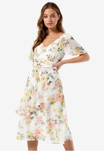 Dorothy Perkins white Petite Floral Midi Dress 8AB62AAEF8BE2CGS_1
