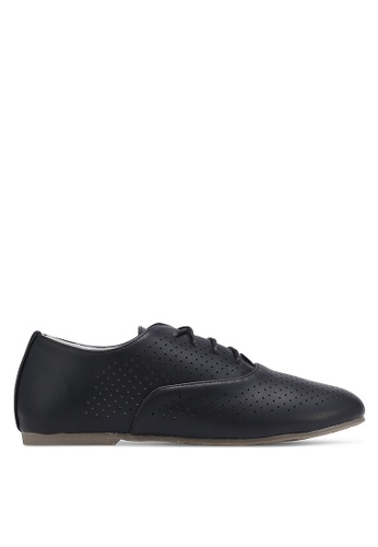 Velvet black Perforated Lace Up Derby 41C34SHBFB786EGS_1