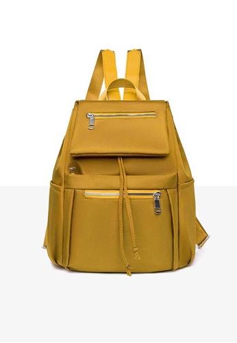 Lara yellow Women's Leisure Water-repellent Nylon Zipper Backpack - Yellow AB70EACD6B705CGS_1